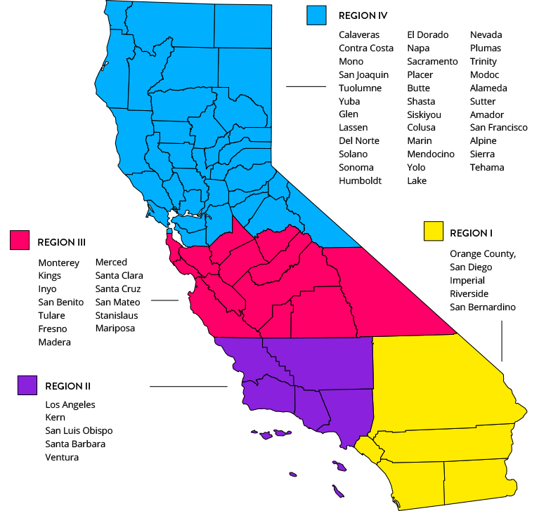 Santa Cruz California Map.Regions Ccea California Continuation Education Association